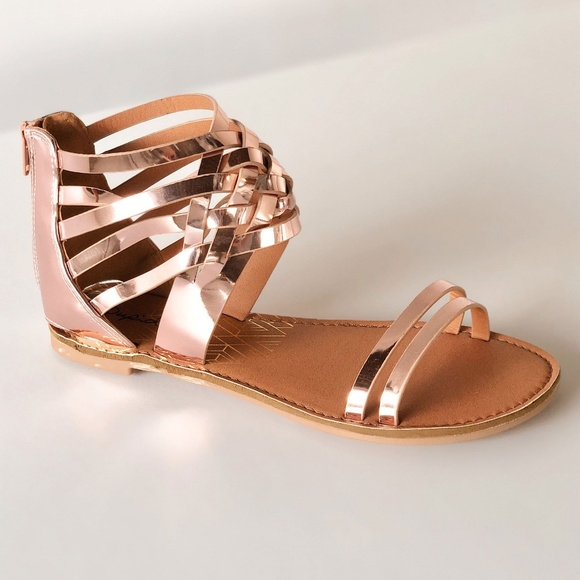 9b0921f81eb5a3 Qupid  Athena  Strappy Gladiator Sandals Rose Gold